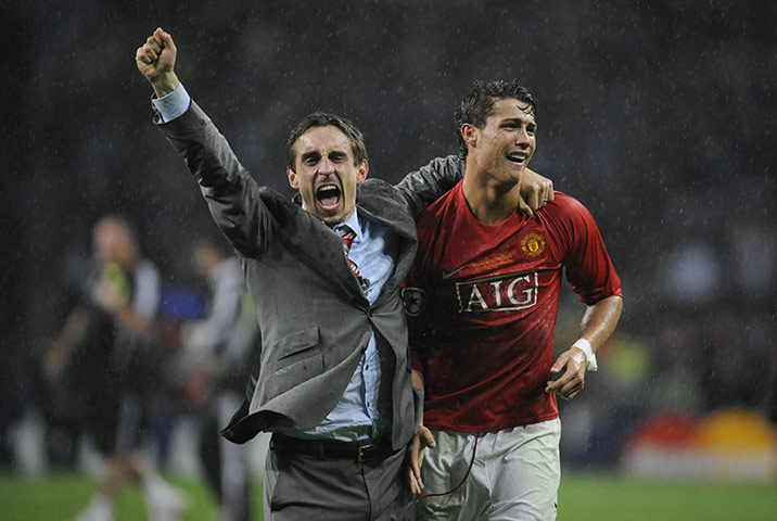 Gary Neville and Ronaldo Moscow 2008