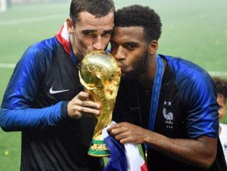 Lemar Griezmann World Cup trophy